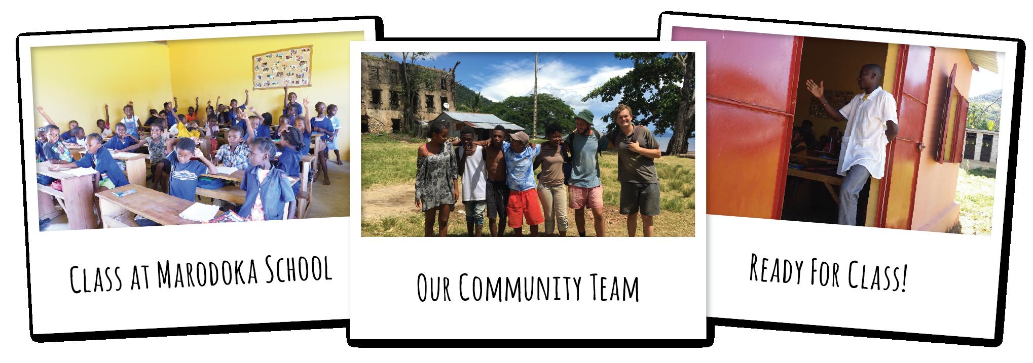 Teacher Helps Community Development Volunteers Rebuild SchoolEnglish Classes - Banana Village MRCI 2